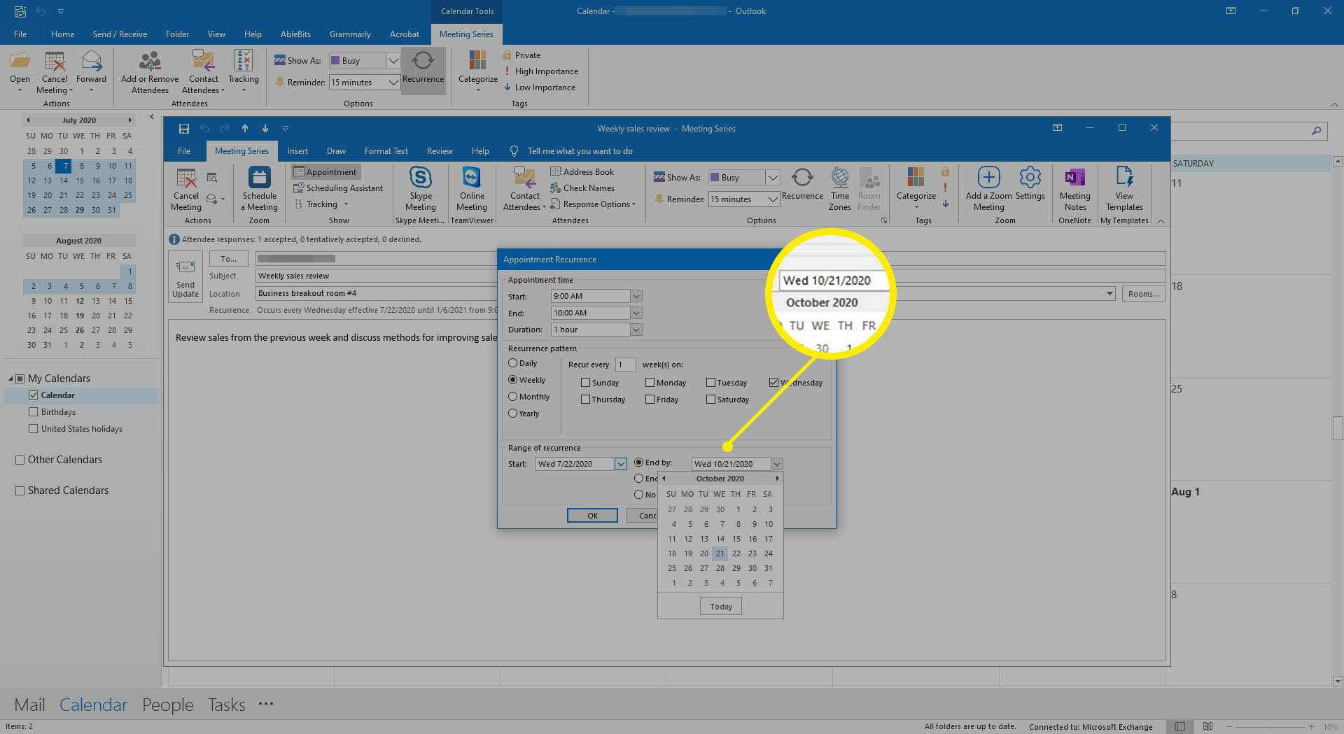 Selecting a new end date for a meeting in Outlook.