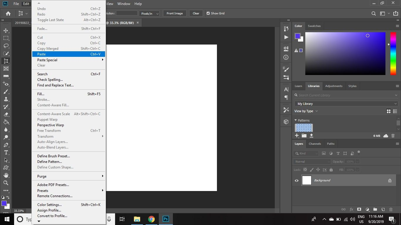 Select Edit > Paste to paste your image into the new canvas.