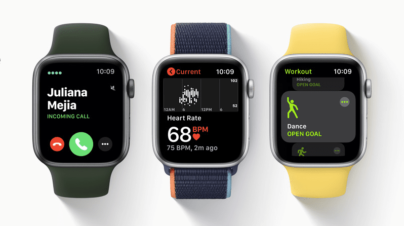 Incoming call, BPM, and Workout dance goal on Apple Watch