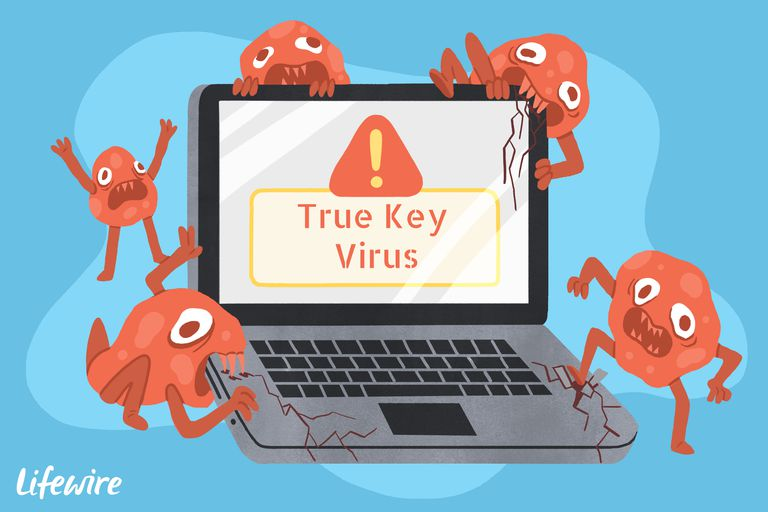 A conceptual illustration of the True Key virus destroying a laptop computer.