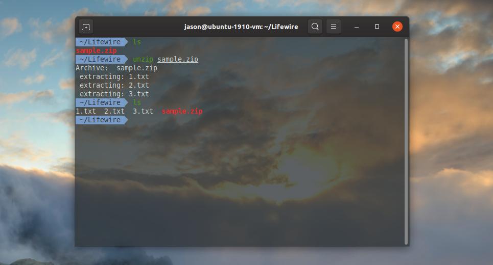 unzip linux file