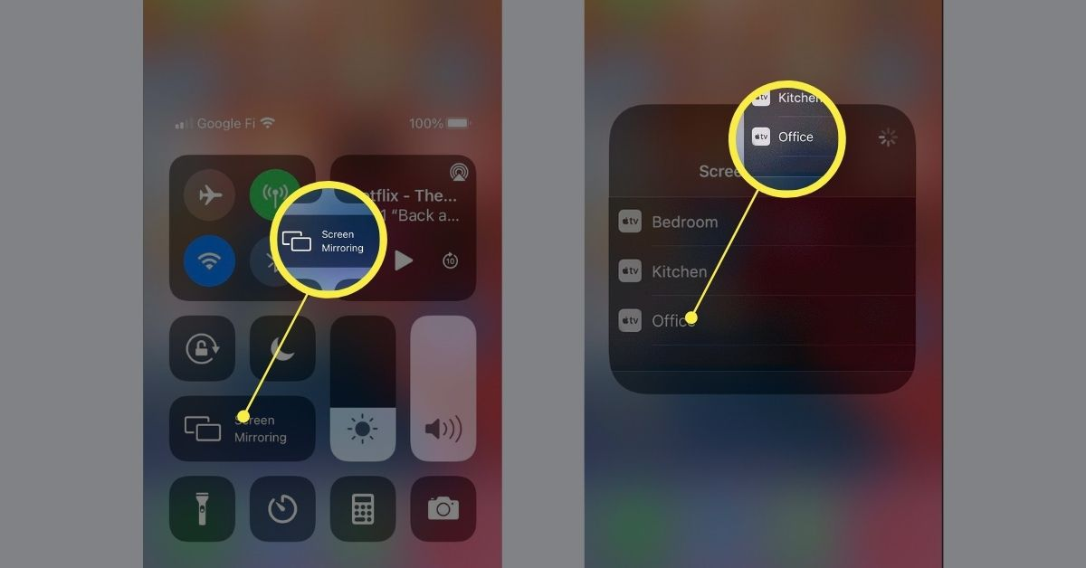 Enabling Screen Mirroring feature on iOS.