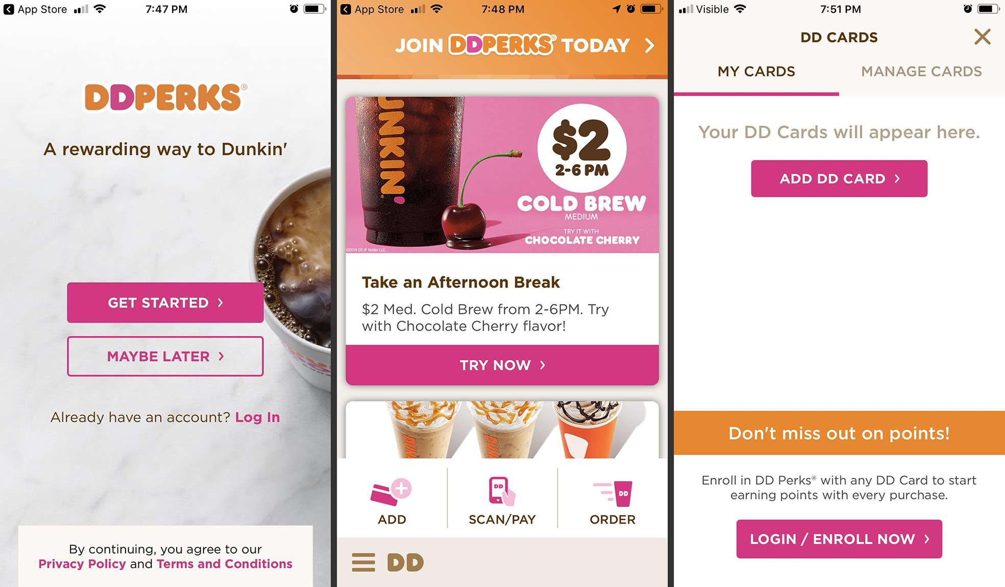 Dunkin Donuts app on Android