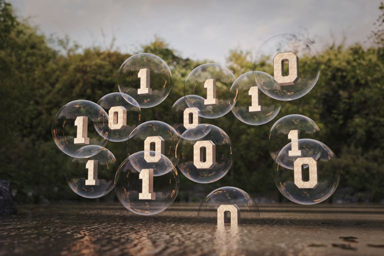 Binary code floating in bubbles above river