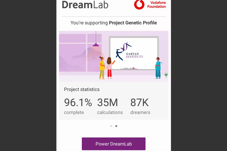 DreamLab app's Dashboard