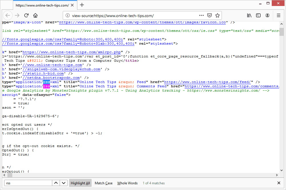 RSS feed link from page source in Firefox
