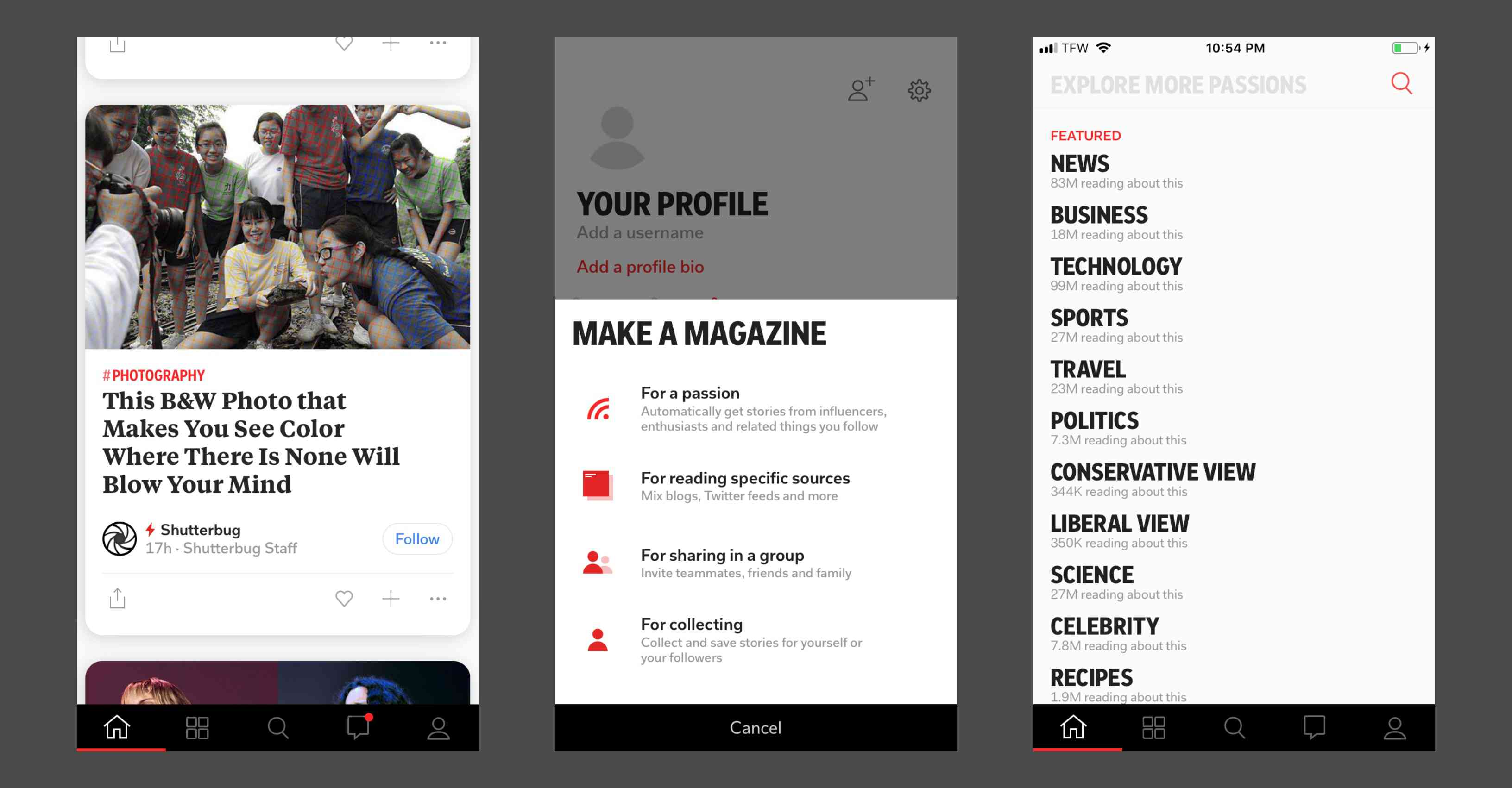 Using the Flipboard app to read news stories and create magazines