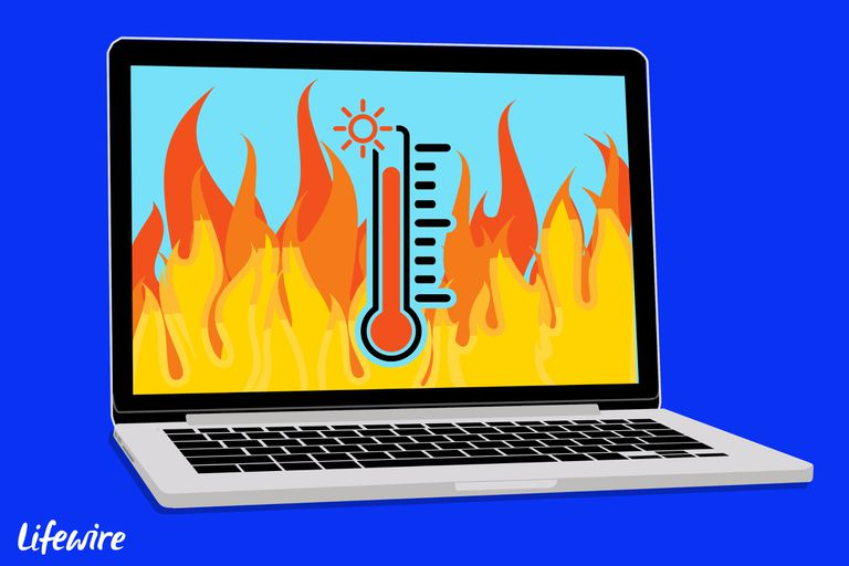 Illustration of a laptop with a thermometer on its screen, running a