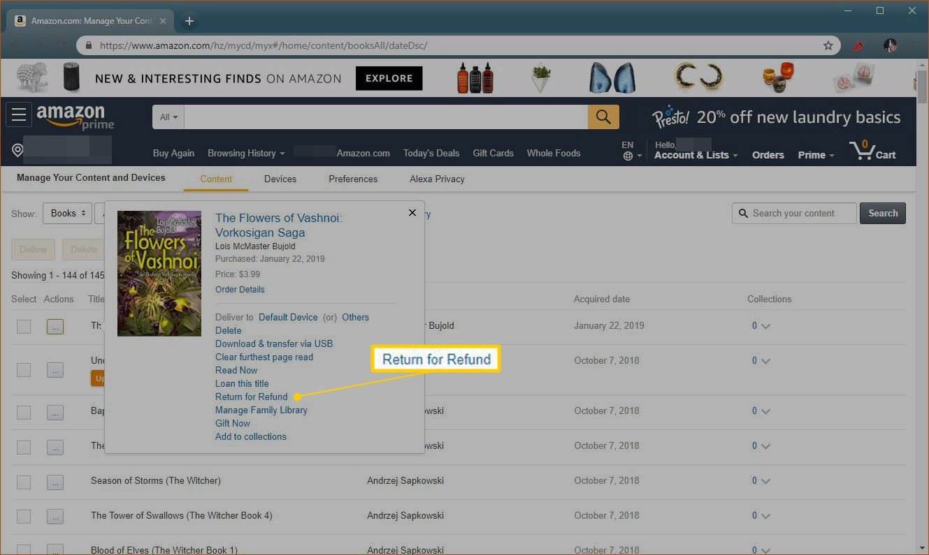 Return for Refund link on Amazon.com