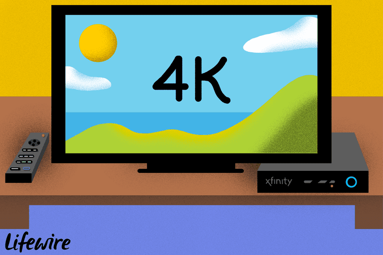 Illustration of a 4K television and an Xfinity cable box