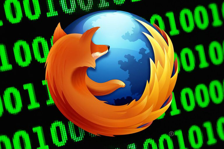 Firefox logo over binary code