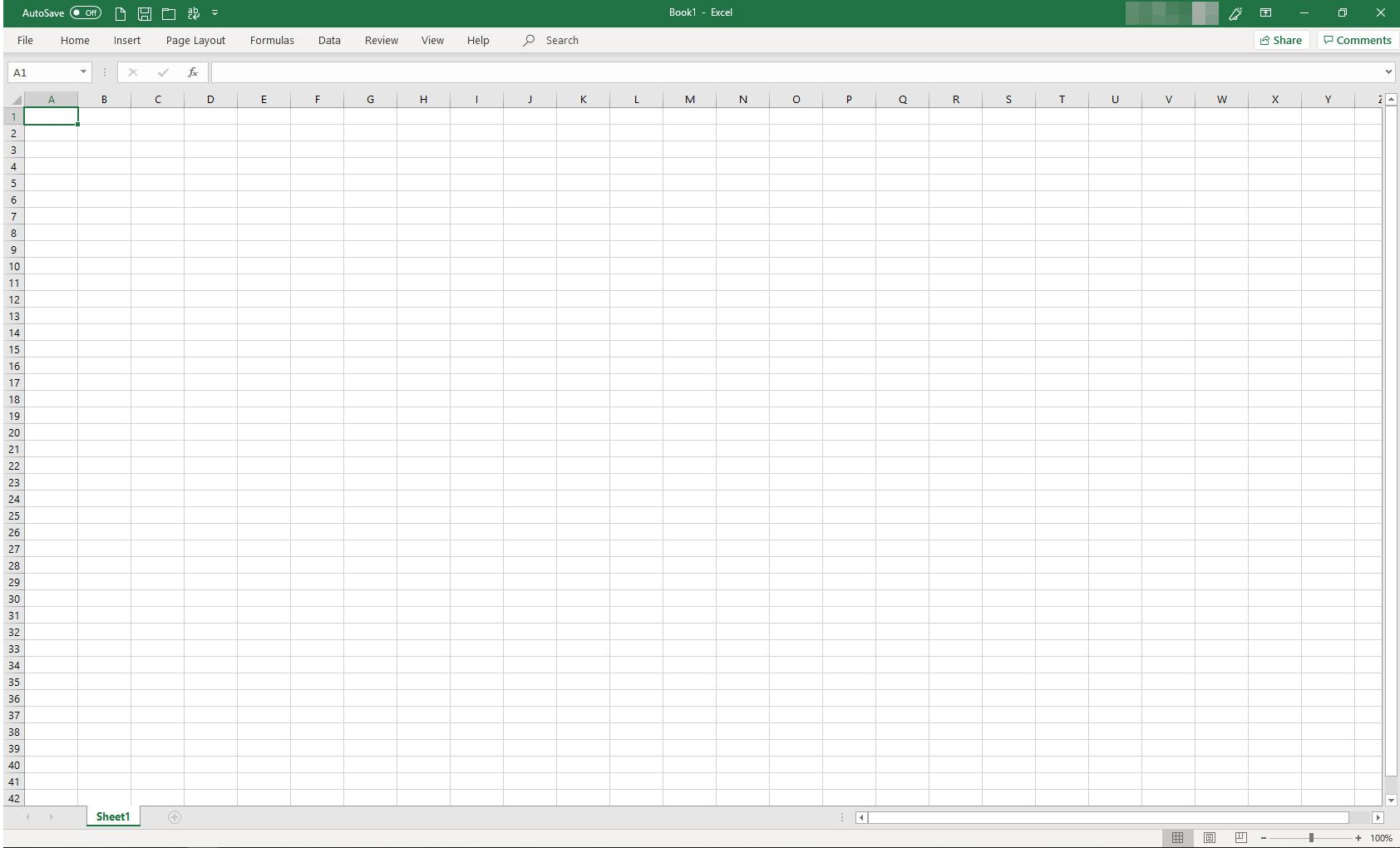 Microsoft Excel with ribbon collapsed