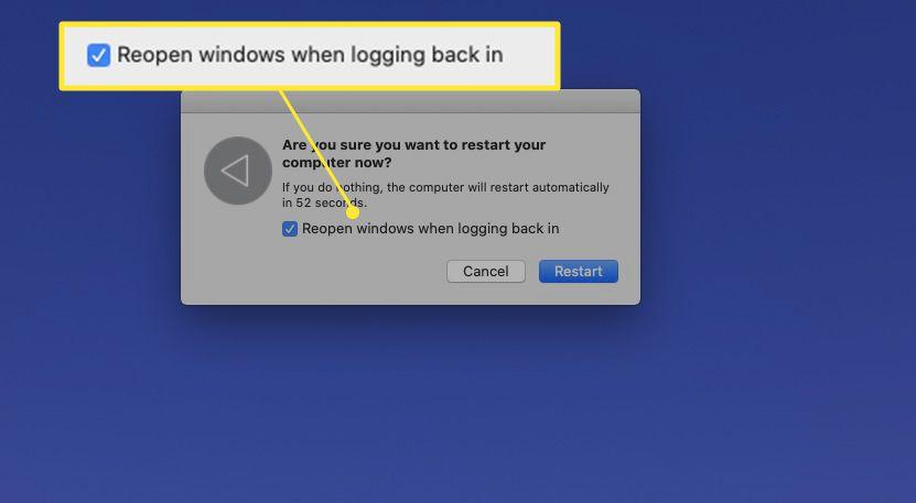 MacBook restart dialog with