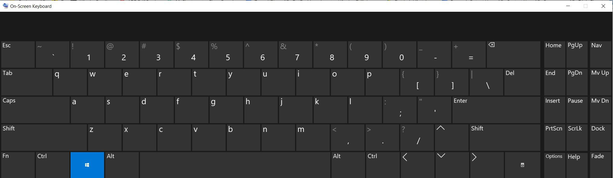 The on-screen keyboard available with Windows 10.