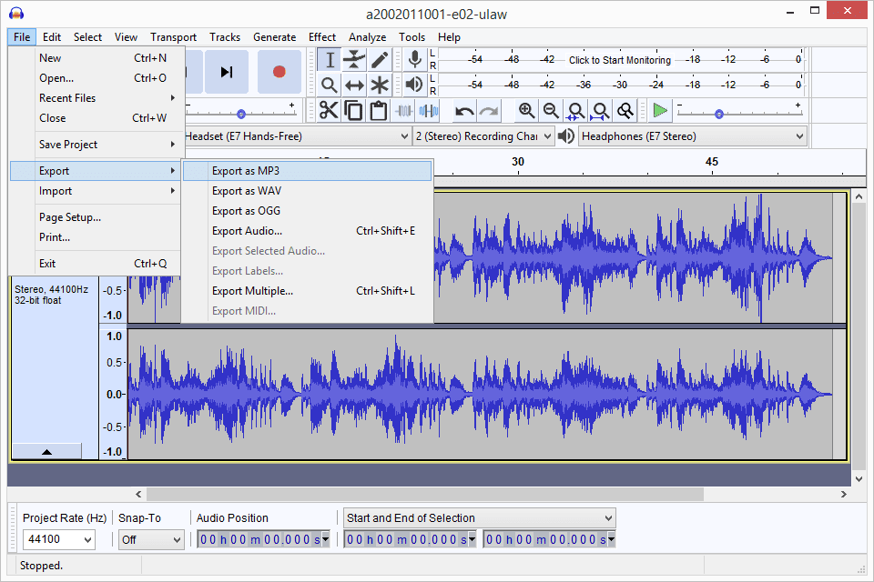 How to Convert WAV to MP3 in Audacity