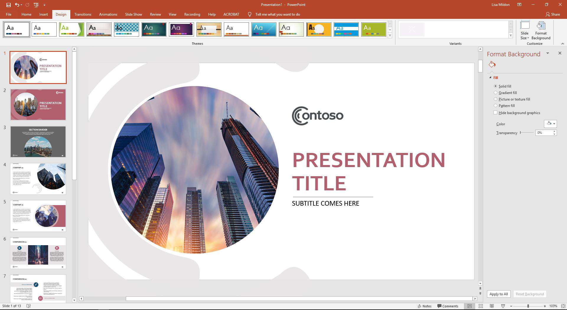 PowerPoint displaying the Format Background options.