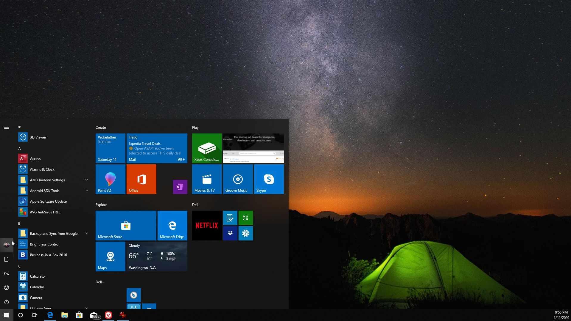 Screenshot of start menu switching account