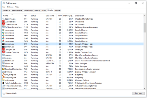 Screenshot of the conhost.exe process running in Windows 10 task manager