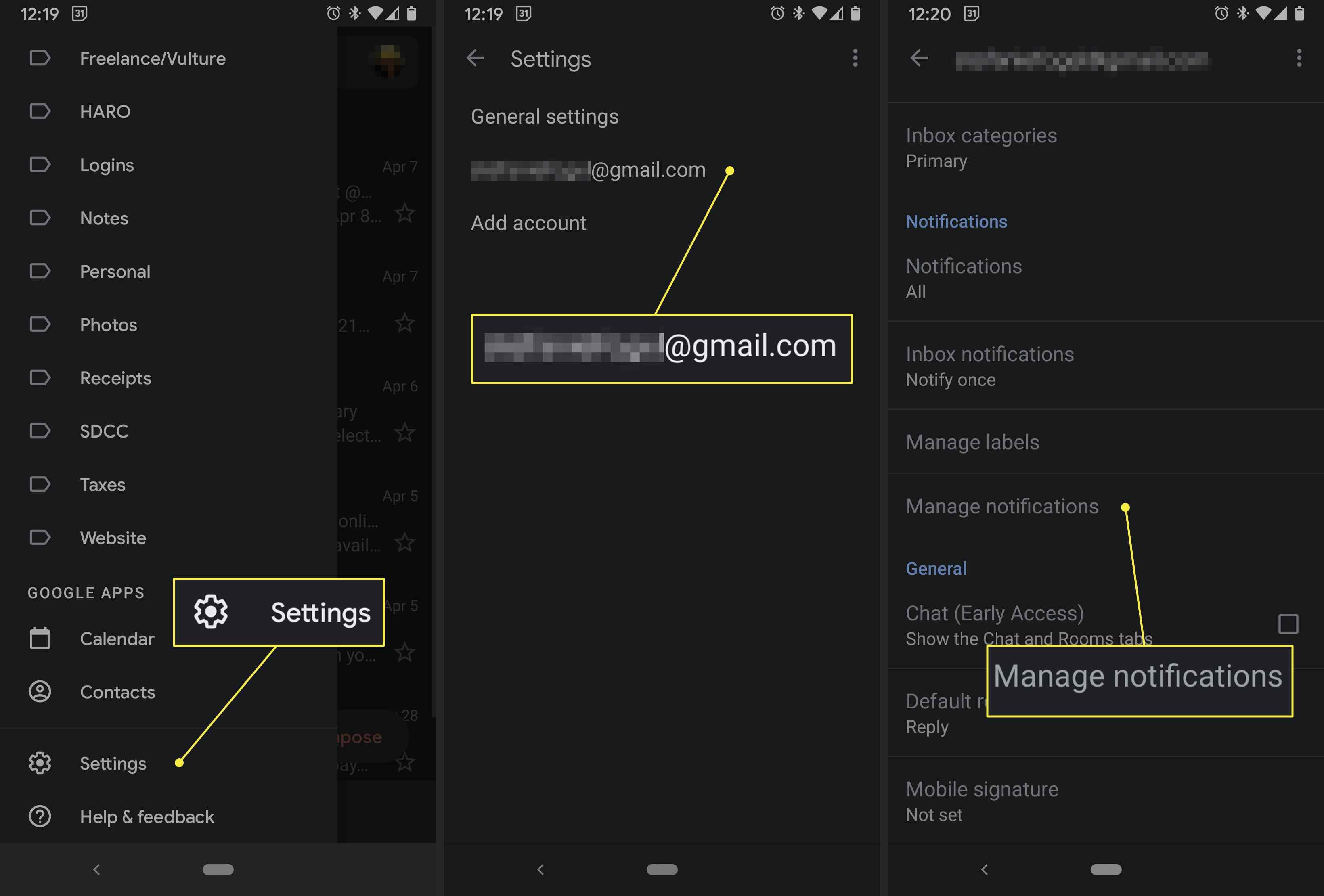 A Gmail app user accesses notifications via the settings menu