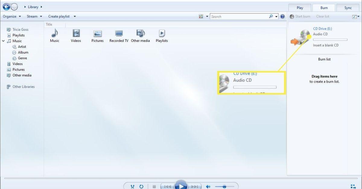 Audio CD selected as burn mode