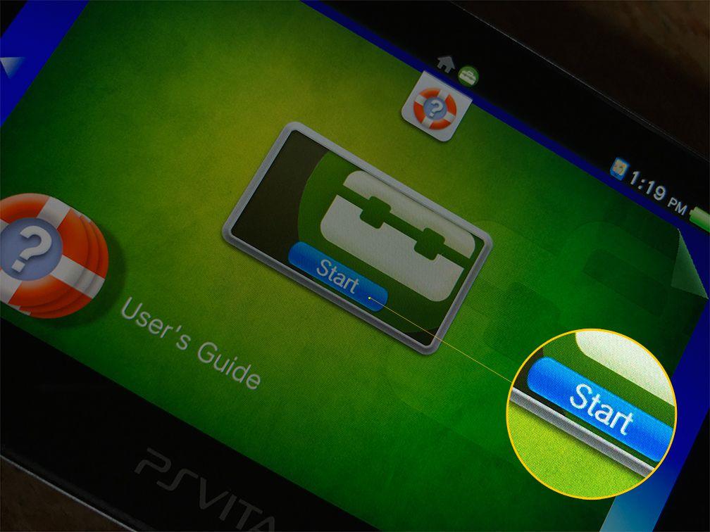 Start button for PS Vita Settings app