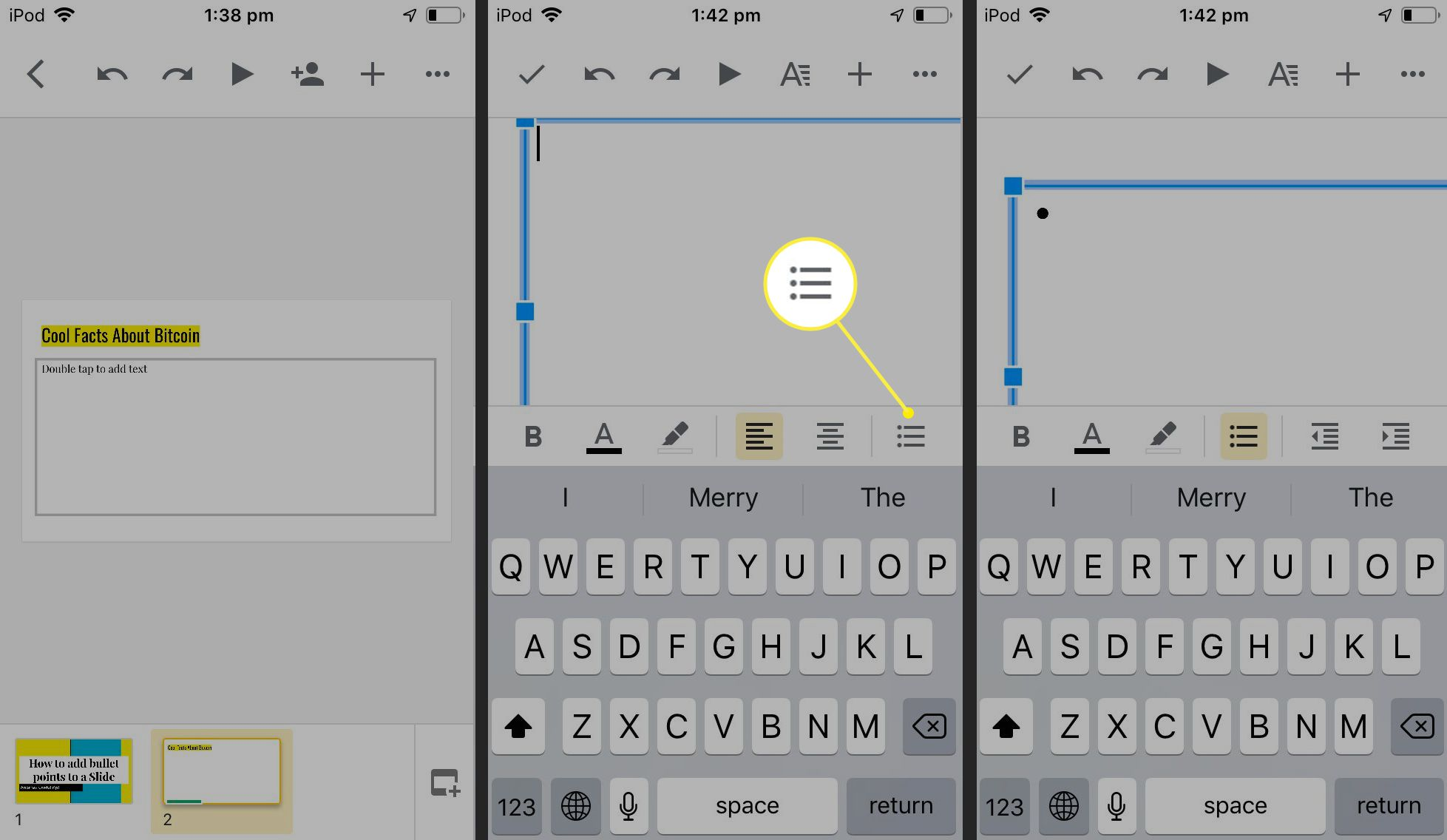Google Slides iOS app with bullet in text box