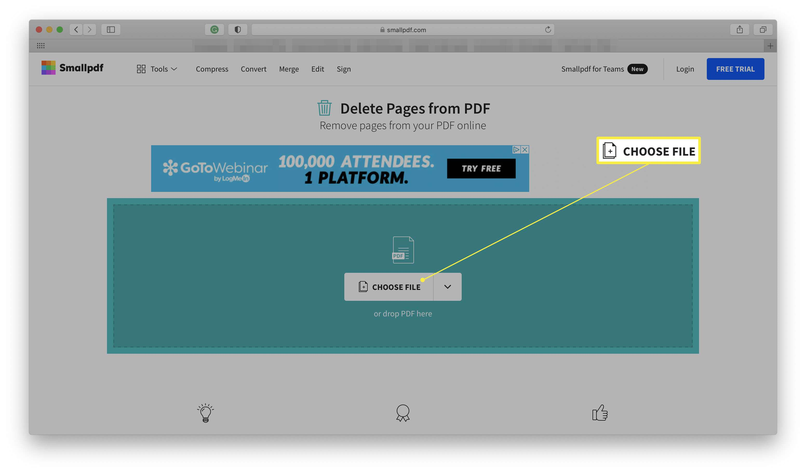 Smallpdf website with Choose File highlighted