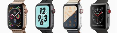 Four Apple Watch models, with different watch face designs