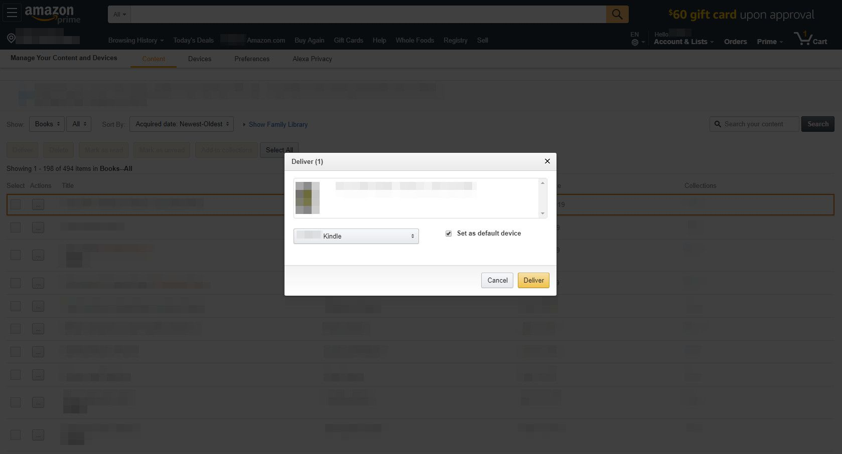 Amazon.com with Deliver dialog box displayed