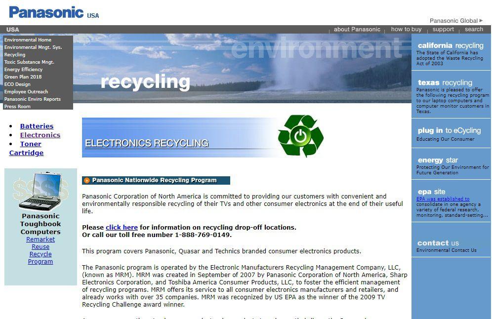 Panasonic Recycling Program