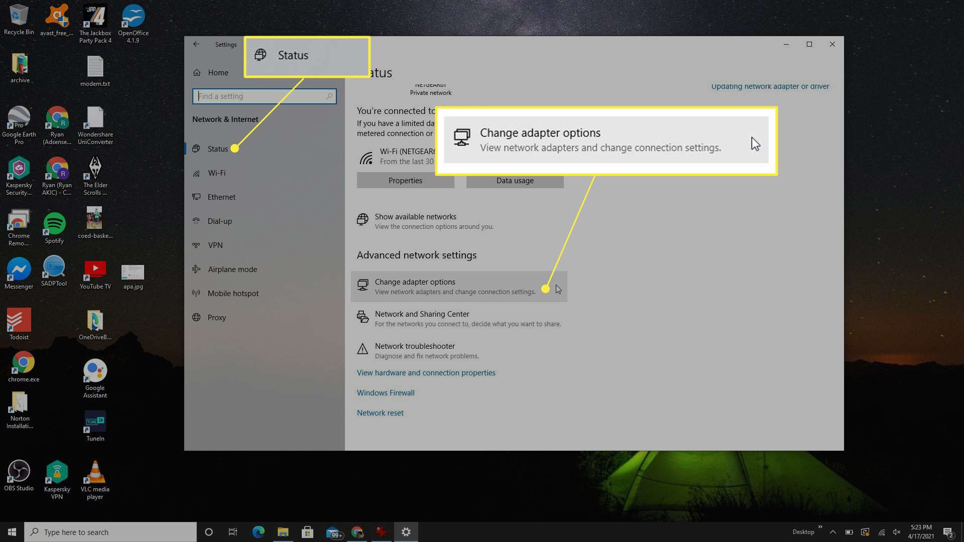 Network Settings adapter status with