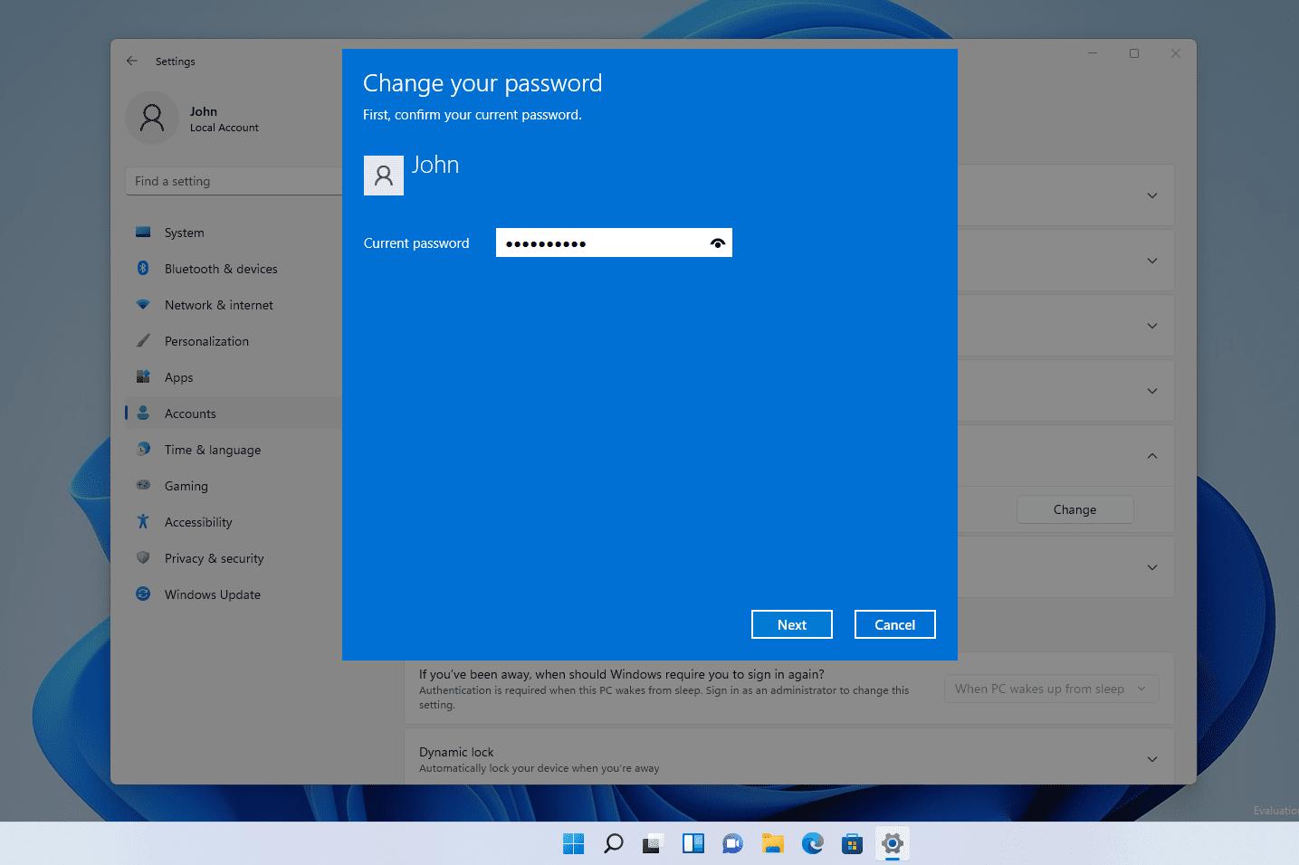 Windows 11 change your password screen