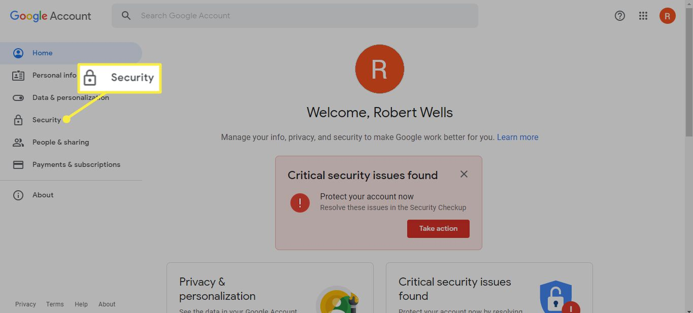 Security in Google Account settings
