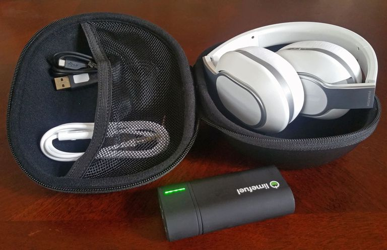 The Phiaton BT 460 headphones with carrying case and cable accessories