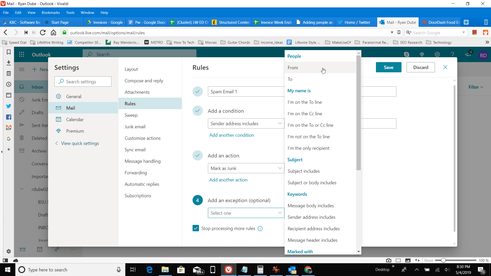 Screenshot of allowing certain emails in a spam block rule