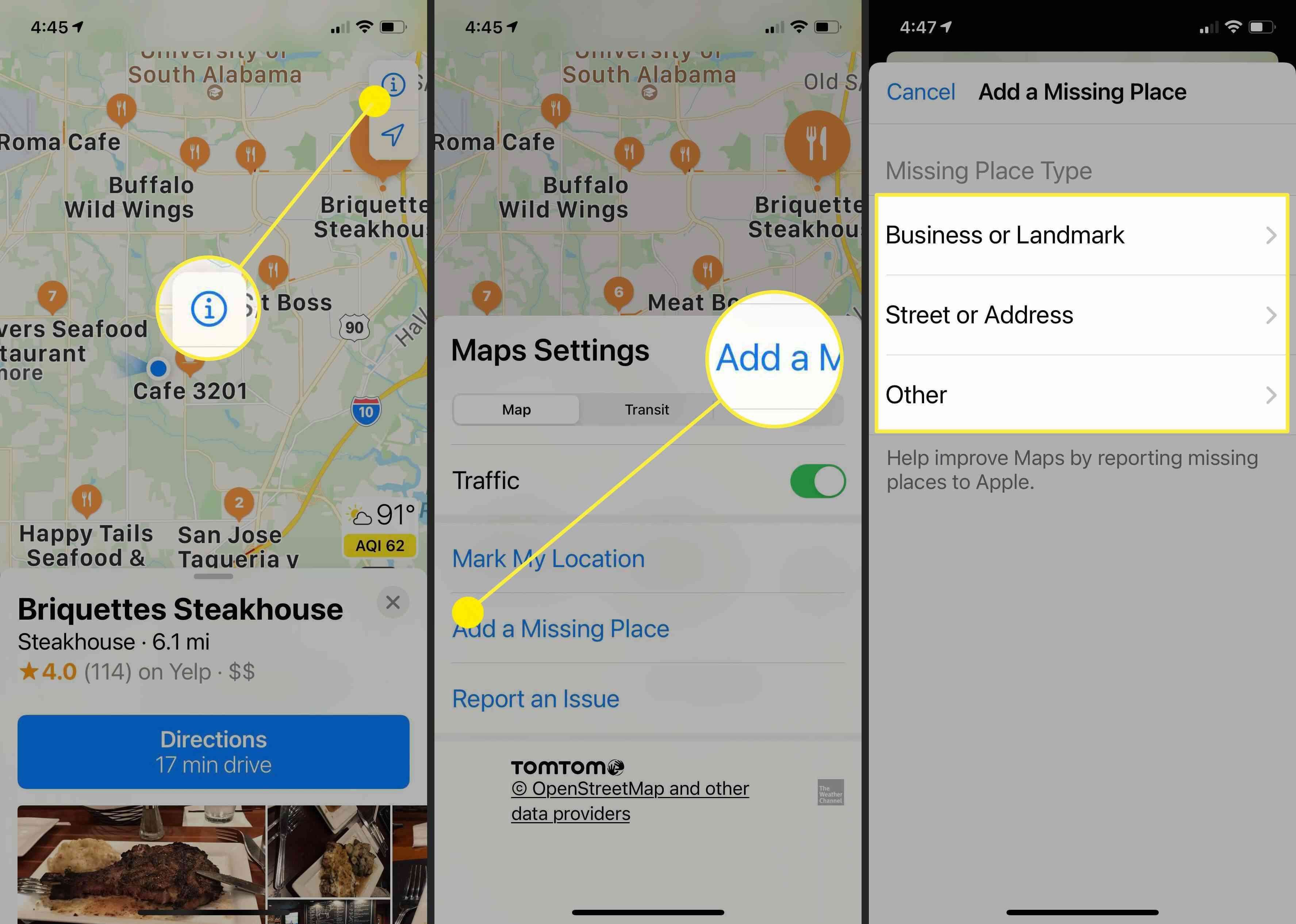 Screenshots showing how to add information or suggest changes on Apple Maps.