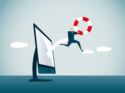 Illustration of a man jumping out of a computer with a life preserver for computer assistance