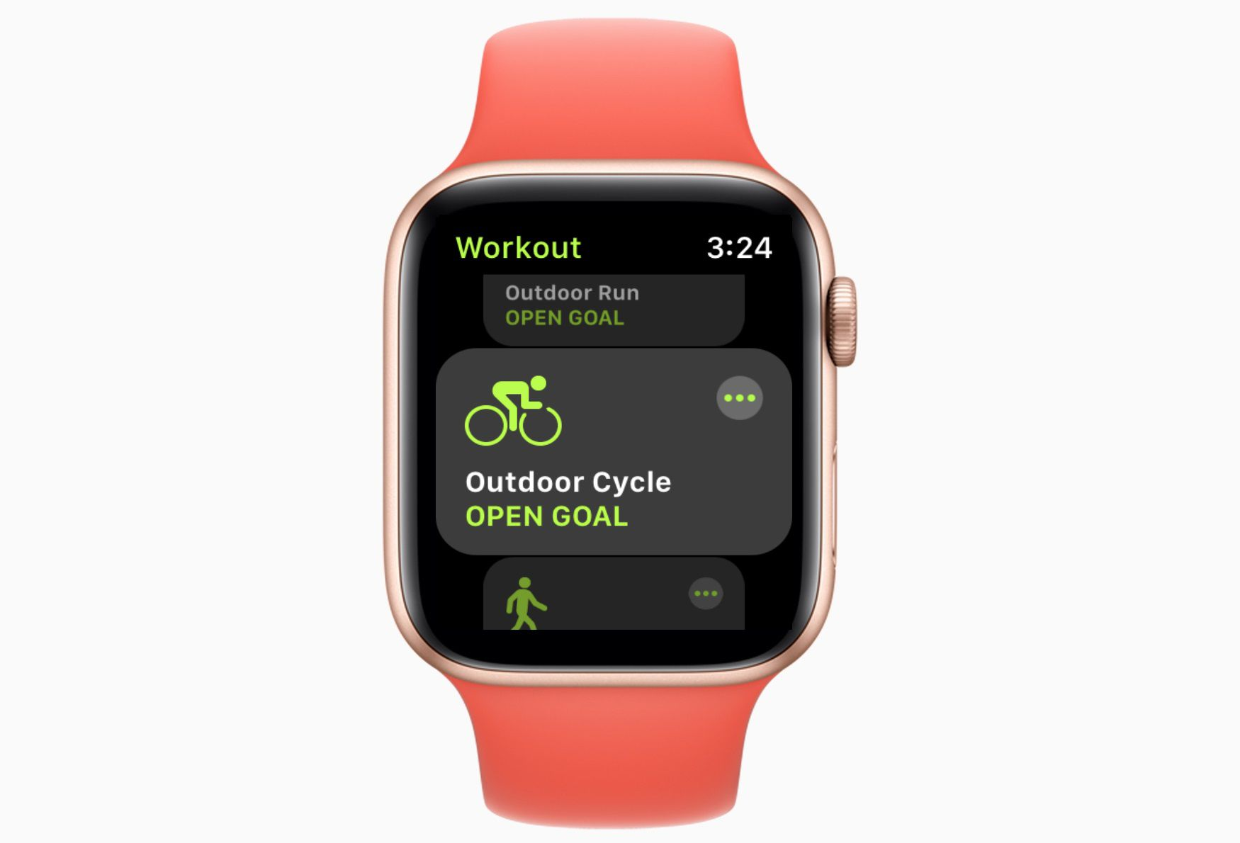 Apple Watch workout screen with Outdoor Cycle on the screen