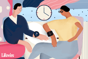 Illustration of people wearing WearOS and watchOS-powered smartwatches