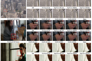 Grid of video frames being improved by AI