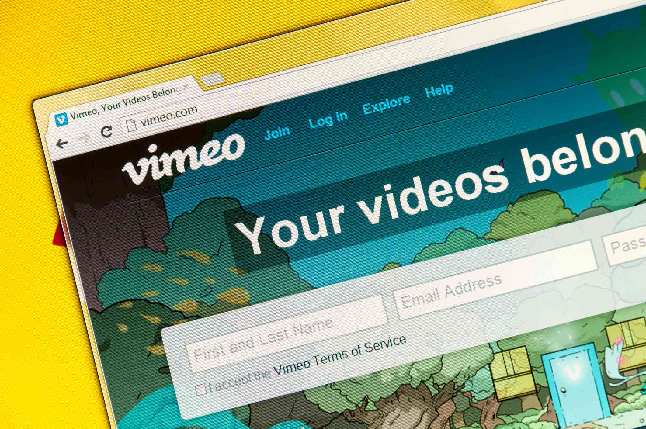 Vimeo website on a yellow background