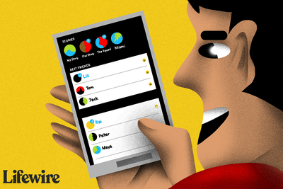 Illustration of a person using Snapchat on a smartphone