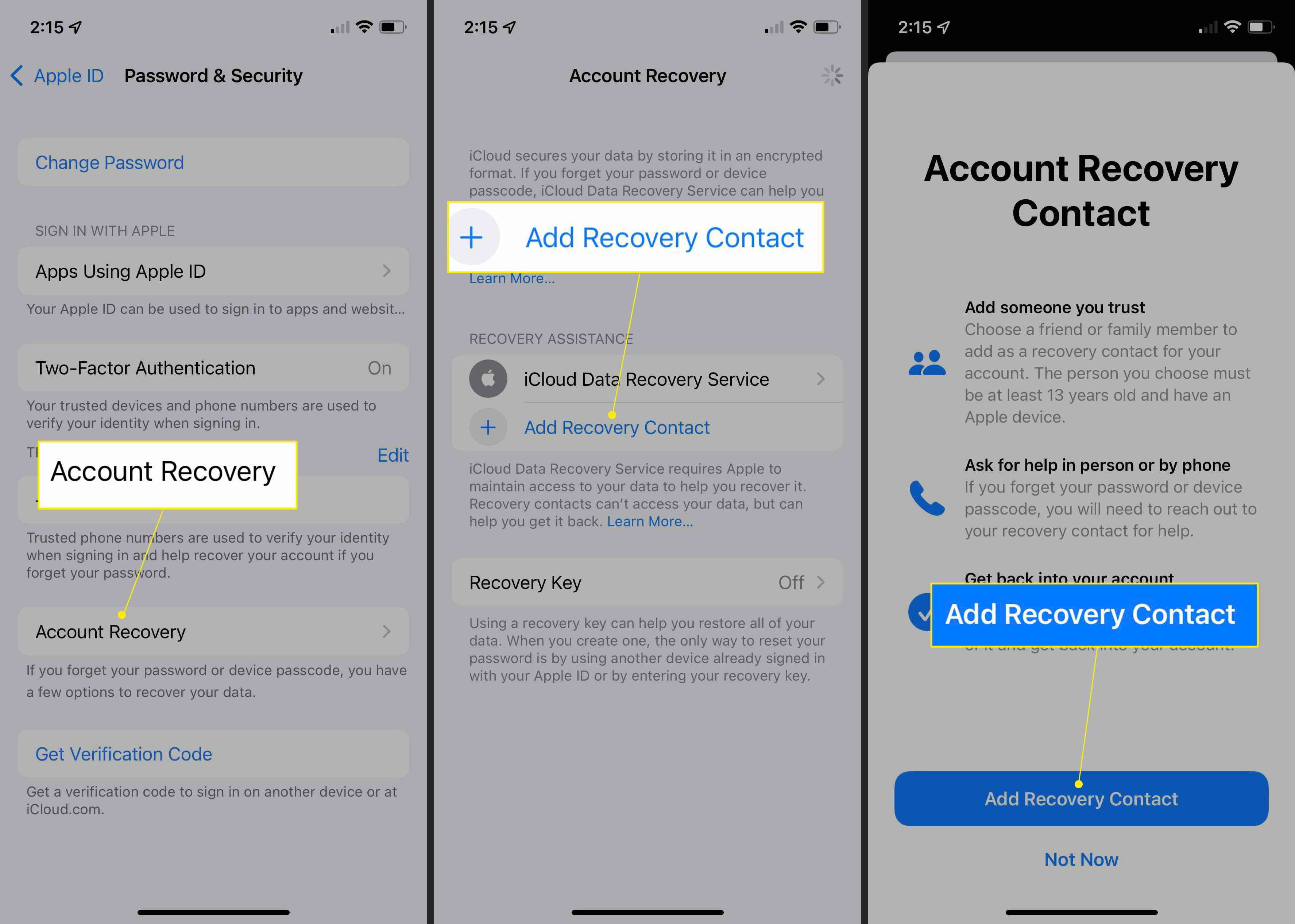 iPhone Privacy & Security settings with Account Recovery, Add Recovery Contact, and Add Recovery Contact (again) highlighted