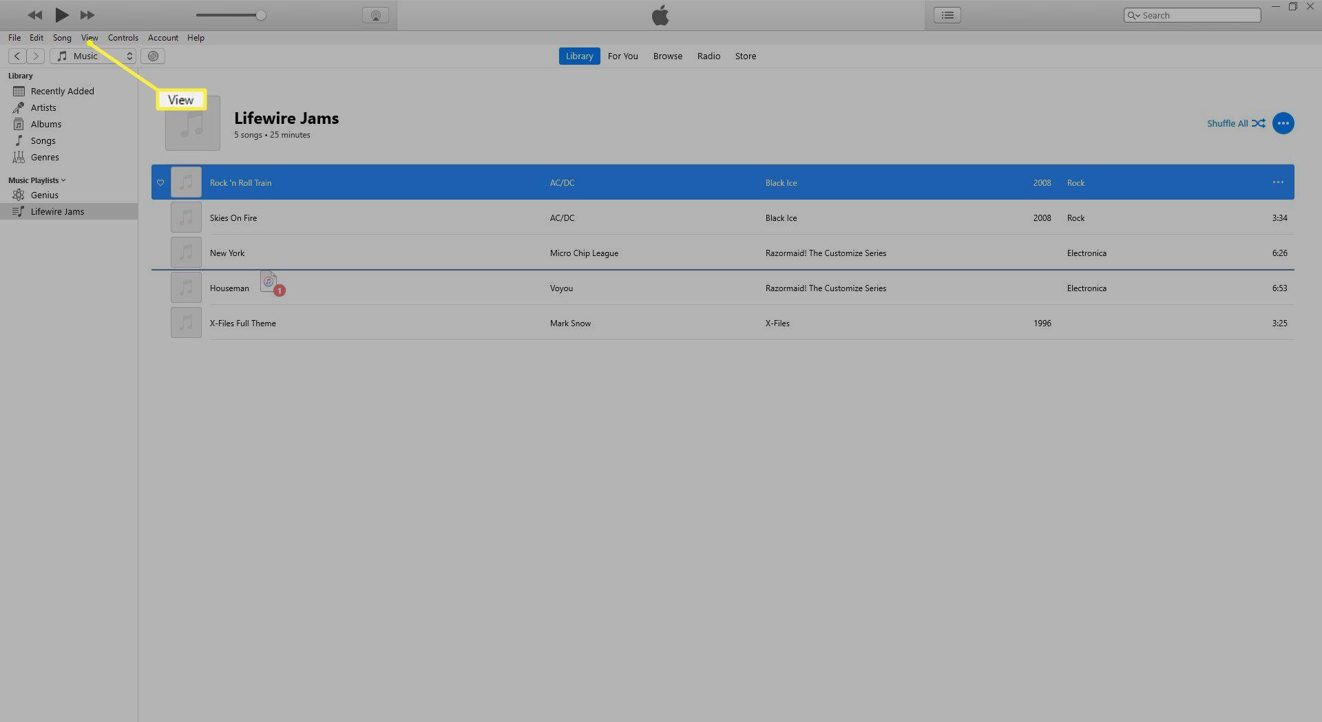 View in iTunes menu