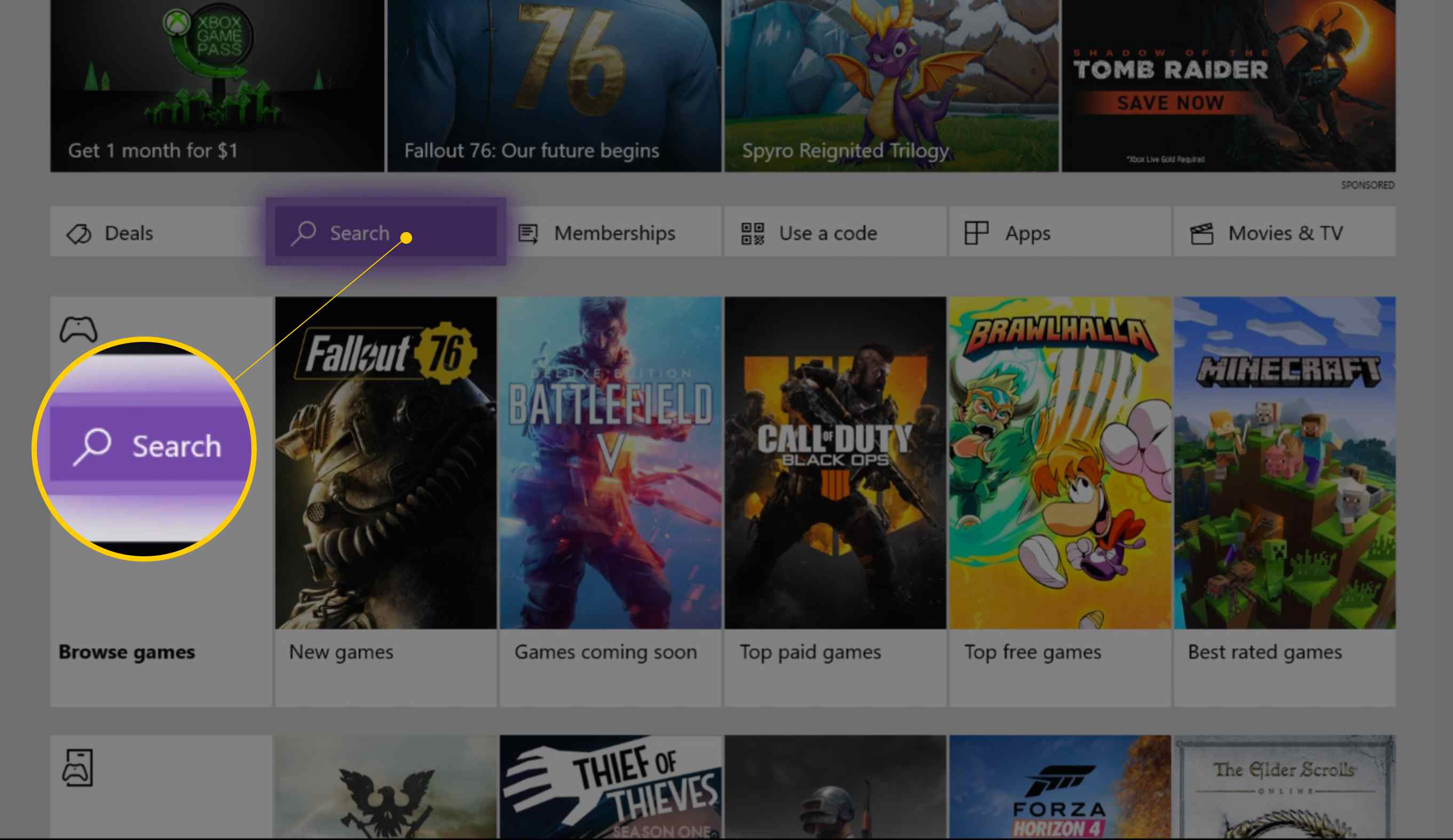 Search button in Xbox One Store