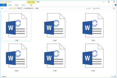 Screenshot of several ODT files in Windows 10