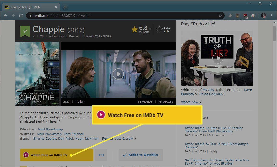 Watch Free on IMDb TV button