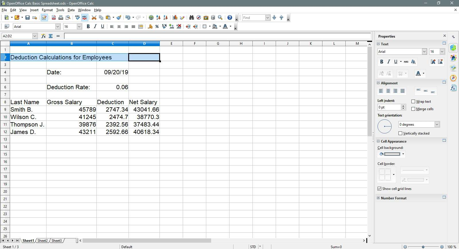 A ranged of cells has been selected. in OpenOffice Calc.