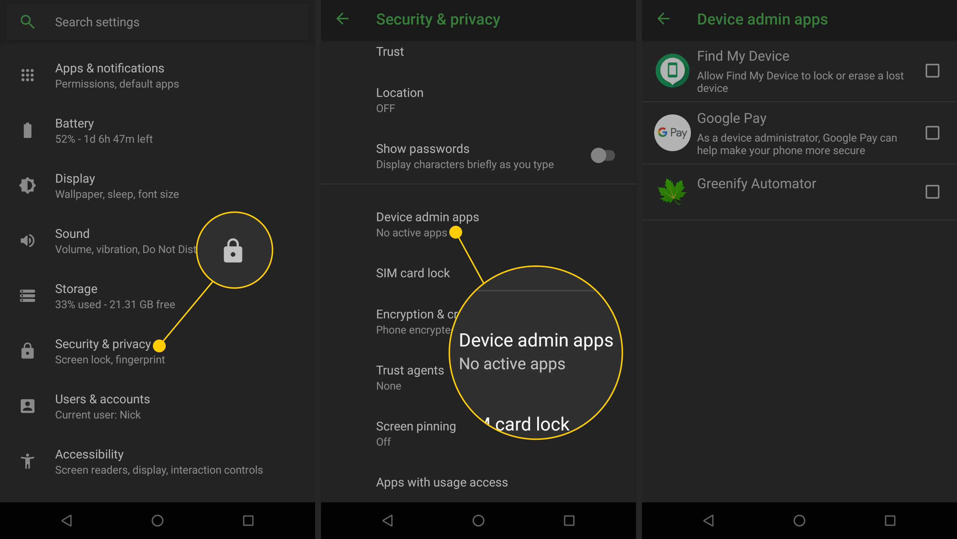 Android phone with the Security & Privacy and Device admin apps settings items highlighted