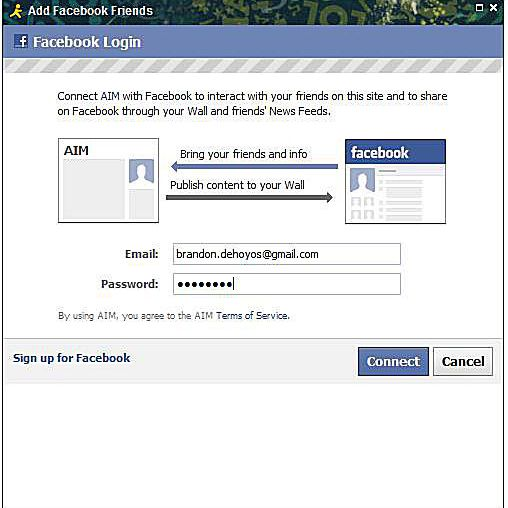 Connecting Facebook Chat and AIM